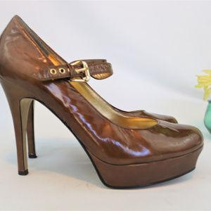 GUESS Caramel Brown Platform Mary Jane Heels 8.5M